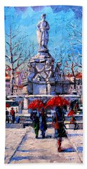 Winter City Scene - The Square  Marshal Lyautey In Lyon - France Hand Towel
