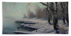 Winter Coming On The Riverside Bath Towel