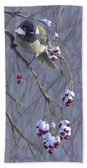 Winter Harvest 1 Chickadee Painting Bath Towel