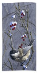 Winter Harvest 2 Chickadee Painting Bath Towel