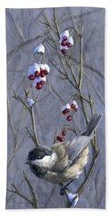 Winter Harvest 2 Chickadee Painting Hand Towel