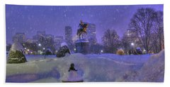 Winter In Boston - George Washington Monument - Boston Public Garden Hand Towel
