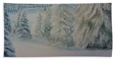 Bath Towel featuring the painting Winter In Gyllbergen by Martin Howard