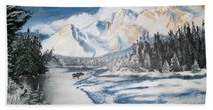 Bath Towel featuring the painting Winter In The Canadian Rockies by Sharon Duguay