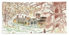 Winter In The Village Bath Towel by Tracey Williams
