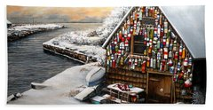 Winter Ipswich Bay Wooden Buoys  Hand Towel