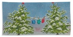 Bath Towel featuring the painting Winter Is Fun by Mary Ellen Mueller Legault