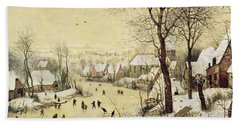 Winter Landscape With Skaters And A Bird Trap Bath Towel