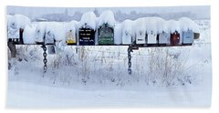 Winter Mailbox Panorama Hand Towel