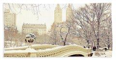 New York Snow Photographs Bath Towels