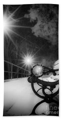 Winter Night Along The River Hand Towel
