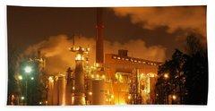Winter Night At Sunila Pulp Mill Hand Towel