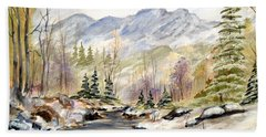 Hand Towel featuring the painting Winter On The River by Dorothy Maier