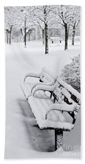 Winter Park With Benches Bath Towel