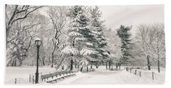 Winter Path - Snow Covered Trees In Central Park Hand Towel