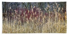 Winter Reeds And Forest Bath Towel