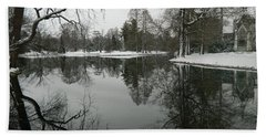 Bath Towel featuring the photograph Winter Reflections 2 by Kathy Barney
