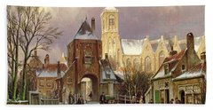 Winter Scene In Amsterdam Bath Towel
