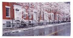 Winter, Snow In Washington Square, Nyc Hand Towel
