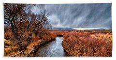 Winter Storm Over Owens River Hand Towel
