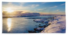 Winter Sunset In Iceland Bath Towel