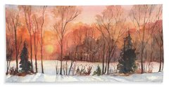 Bath Towel featuring the painting A Hedgerow Sunset by Carol Wisniewski