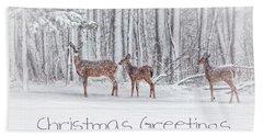 Winter Visits Card Hand Towel