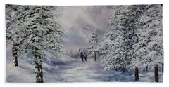 Hand Towel featuring the painting Winter Walk On Cannock Chase by Jean Walker