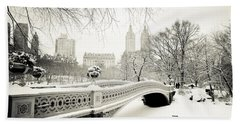 Winter's Touch - Bow Bridge - Central Park - New York City Hand Towel
