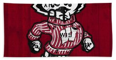 Wisconsin Badgers College Sports Team Retro Vintage Recycled License Plate Art Hand Towel by Design Turnpike