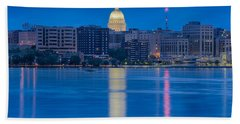 Bath Towel featuring the photograph Wisconsin Capitol Reflection by Sebastian Musial