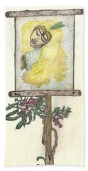 Hand Towel featuring the drawing Wish And Tell by Kim Pate