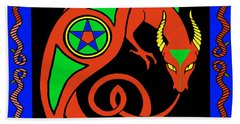 Hand Towel featuring the digital art Witches Dragon by Vagabond Folk Art - Virginia Vivier