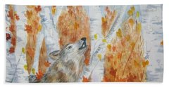 Bath Towel featuring the painting Wolf Call by Ellen Levinson