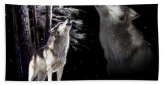 Wolf  Howling Memory Hand Towel