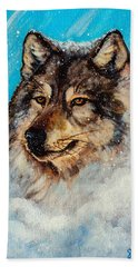Hand Towel featuring the painting Wolf In A Snow Storm by Bob and Nadine Johnston
