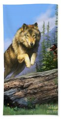 Bath Towel featuring the painting Wolf Run Indian Hunter by Rob Corsetti