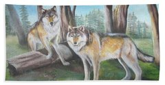 Wolves In The Forest Bath Towel