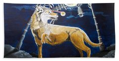 Bath Towel featuring the painting Wolves Mouth  by Lazaro Hurtado