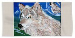 Bath Towel featuring the painting Wolves by Phyllis Kaltenbach