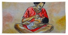 Bath Towel featuring the drawing Woman And Child by Anthony Mwangi