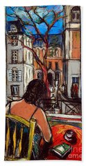 Woman At Window Hand Towel