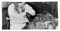 Woman Car Mechanic Hand Towel
