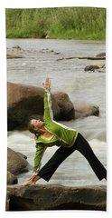 Woman Doing Yoga By River Bath Towel