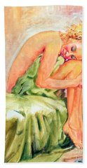 Woman In Blissful Ecstasy Bath Towel by Sher Nasser