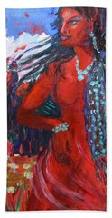 Woman Of The Whispering Wind Hand Towel by Avonelle Kelsey