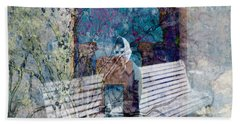 Bath Towel featuring the digital art Woman On A Bench by Cathy Anderson