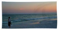 Woman On Beach At Dusk Hand Towel