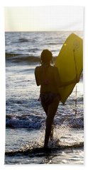 Woman On Beach Carrying Bodyboard Hand Towel