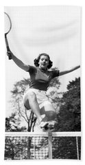 Woman Player Leaping Over Net Hand Towel